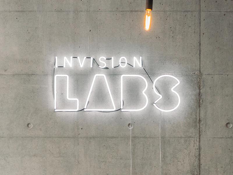 Invision LABS Neon brand identity shapes logotype build labs logo design identity focus lab branding
