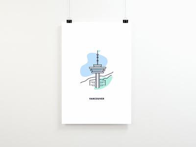 Vancouver icon line work strokes illustration illo poster illustrations