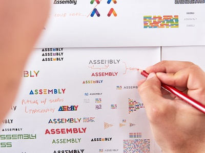 Assembly collaboration shapes logotype build assembly logo design identity focus lab branding