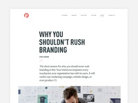 Why you shouldn't rush branding