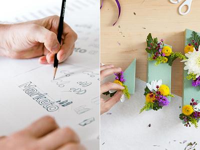 Marketo exploration logo design brand agency sketching marketo identity design brand identity branding focus lab