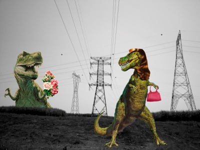 Extinction abstract art collage art flower dinosaur photography collage