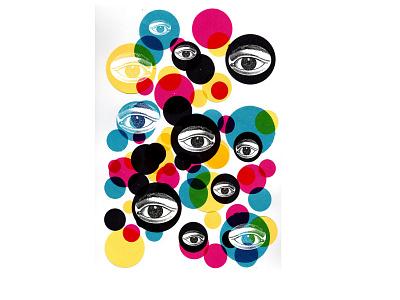 Olhos na Janela  (Eyes on the Window) collage colors eye magazine illustration