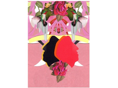 Red adobe photoshop flower abstract art collage