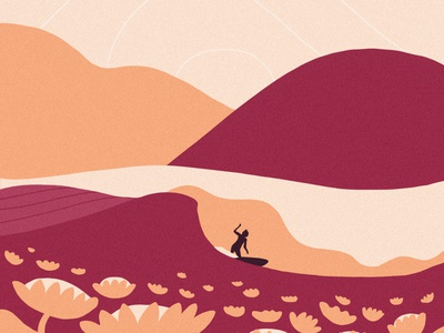 When Hills Become Water surfing procreate design illustration
