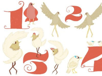 12 Days of Christmas procreate typography illustration
