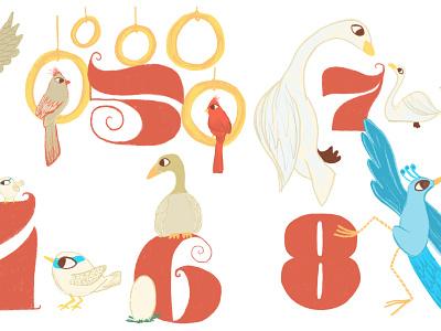 12 Days of Christmas typography design illustration
