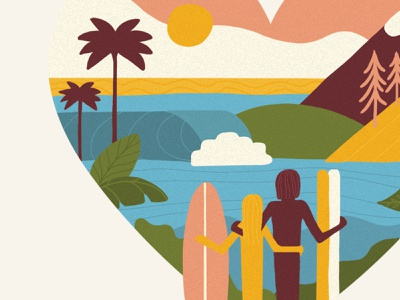 Seas and Slopes, Palms and Pines procreate logo design illustration