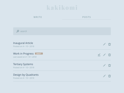 kakikomi - list kakikomi ui interface writing blog