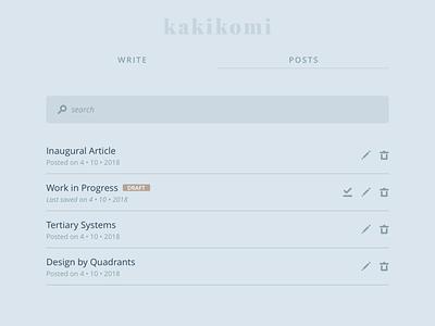 kakikomi - list kakikomi ui interface writing blog