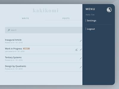 kakikomi - menu interface blog writing nav menu ui kakikomi
