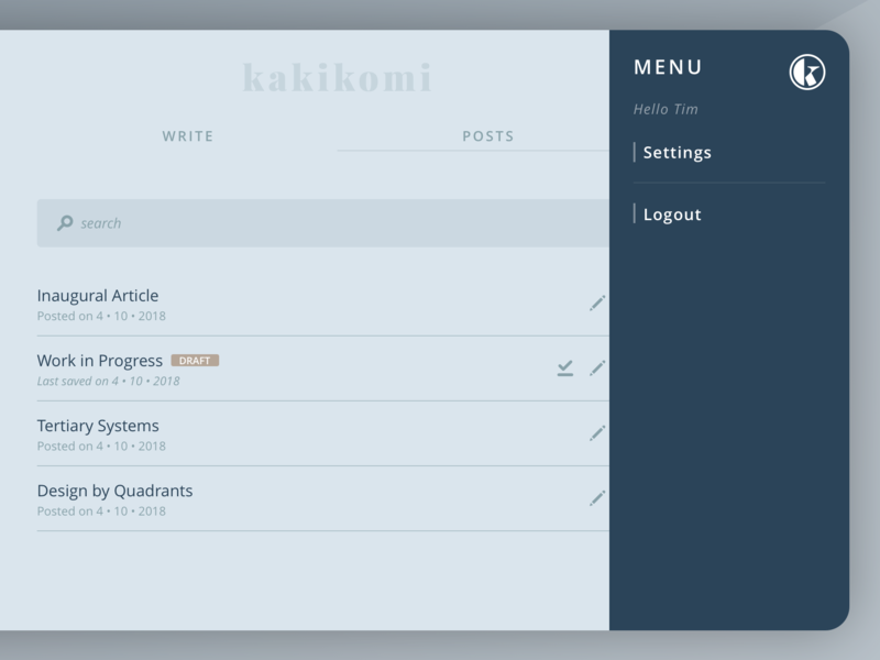 kakikomi - menu interface blog writing nav menu ui kakikomi