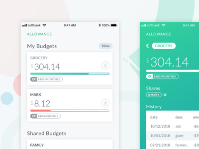 Allowance - home responsive ux money budgeting ui interface mobile