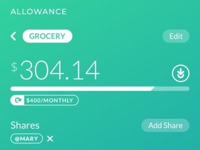 Allowance - Budget Stats app numbers money budgeting budget ui interface mobile