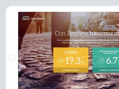 Wayniloans bitcoins landing page flat ui