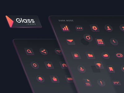 Glass Icon Set (For Sale) vector branding 3d big sur apple mac asset product email search home settings unfold ui kit for sale gradients glass icon set icon