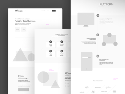 Sweet Wire ux coin currency landing website webdesign draft collab sprint process wireframe sweet