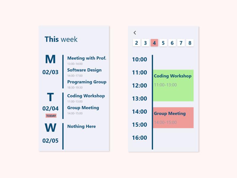 Daily UI #071 - Schedule