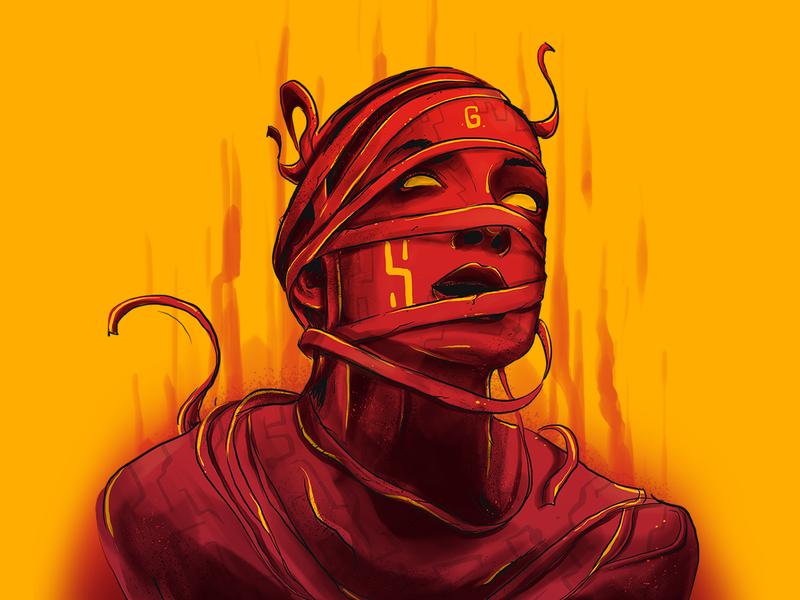 DRAGGED AWAY? digital art setole mummy fire nightmare red cover design music album music art ghost drag