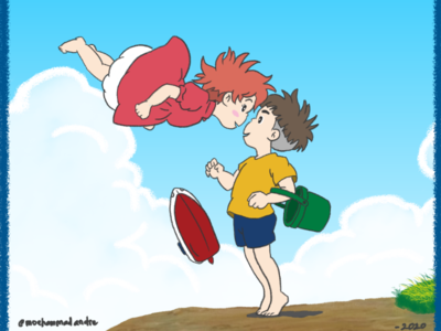 Ponyo On The Cliff - Illustration digital drawing art illustration