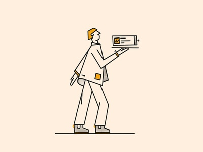Served summer fashion card tan charcoal halftone brooklyn ny illustration warm line character plate yellow boots jacket served ui