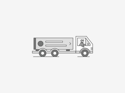 Out for Delivery flat bed shopping grocery nyc trucking transportation road highway pickup card wheels driver worker out truck grey illustration brooklyn ny ui delivery