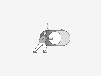 Push It jacket switch button slider slide hanging off on gradient greyscale grey brooklyn nyc ui grocery illustration character hat toggle switch toggle switch