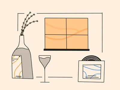 Summer Sill blue yellow circles wheat line drink mountains pencil warm halftone illustration brooklyn nyc sill window glass sleeve record plants label wine