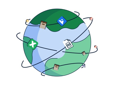 Moving Stuff green blues illustrator distribution logistics space shapes editorial inturn illustration planet moving image excel file boxes moving stuff earth