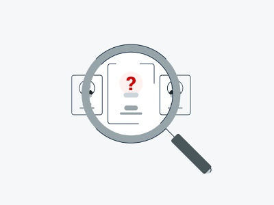 User Not Found customer empty state inturn illustration brooklyn ny red mark question avatar card ui magnifying glass glass magnifying found user