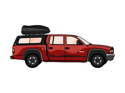 Duramgo hybrid roof rack thule nyc brooklyn wheels vintage illustration rugged red road transportation vehicle car bed truck dodge durango duramgo
