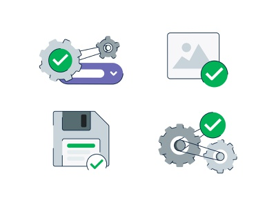 Saving & Processing product filter ui saved empty states empty state ny brooklyn illustration select image filter save processing gears check disk floppydisk floppy filters