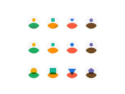 Avatar Studies design circle hexagon square triangle explore fun experiment design system multiply illustration nyc brooklyn set icons ui design shapes halftone studies avatar