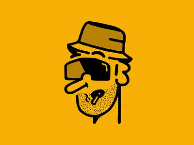 Bashful Tha Dwarf hat brooklyn flat doodle sketchy pencil design beard smoke cig sun glasses vippers bucket hat yellow ny brooklyn ny illustration branding avatar