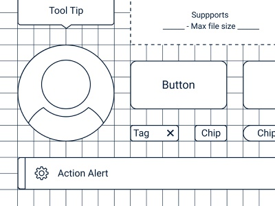 Design System Blueprint pt. 2 icon navy figma new york brooklyn ny element component ux illustration alert button dropzone tool tip tag chip avatar grid graphic design