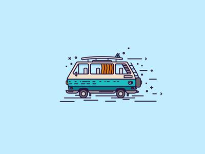 Surf Wagen vw wagen iconography graph design illustration car vehicle orange blue brooklyn nyc volkswagen surf board