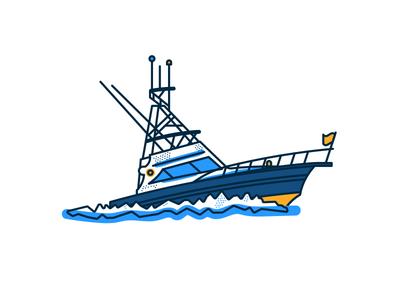 Deep Sea Fishing Boat simple vector machine sport waves nautical water craft brooklyn nyc illustration summer fishing boat ocean deep sea