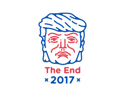 The End 2017 red white and blue face transition man illustration brooklyn nyc united states of america inauguration day the end 2017 45th president donald j trump