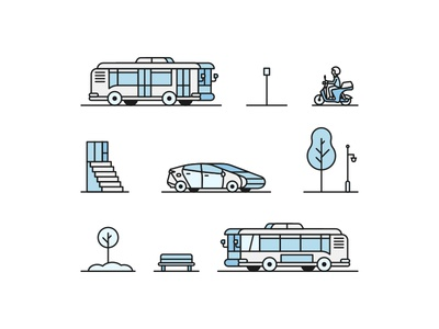 Vehicle Studies plants front door bus stop bench icons brooklyn ny illustration stairs tree light post scooter sedan compact car
