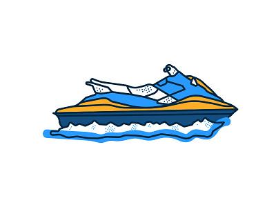 Yamaha Ex Deluxe machine wake brooklyn ny illustration series waves yamaha ex deluxe summer ocean boat water sports wave runner jet ski