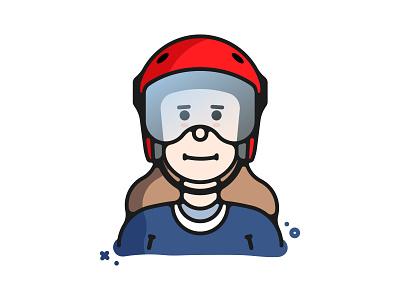 Scoot ID  scoot id avatar scooters character face brooklyn ny illustration portrait visor helmet girl woman
