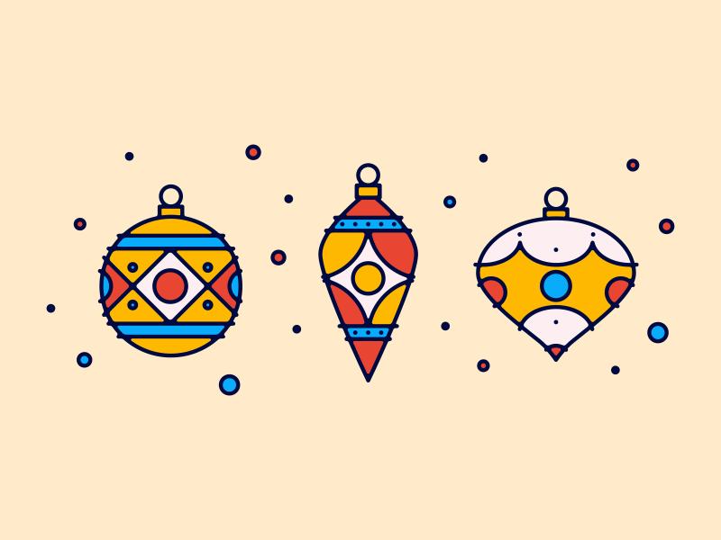 Christmas Ornaments illustration brooklyn ny icons decorations holidays winter 2017 ornaments bulbs christmas