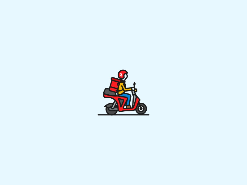 Scoot Courier illustration san francisco brooklyn ny person icon wheels lightning bolt helmet delivery courier scooter scoot