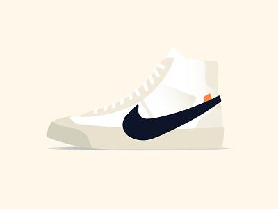 Nike Blazer Mid Off White brooklyn ny illustration shoe sneaker high top swoosh blazer mid skateboarding nike sb off white kicks gradient