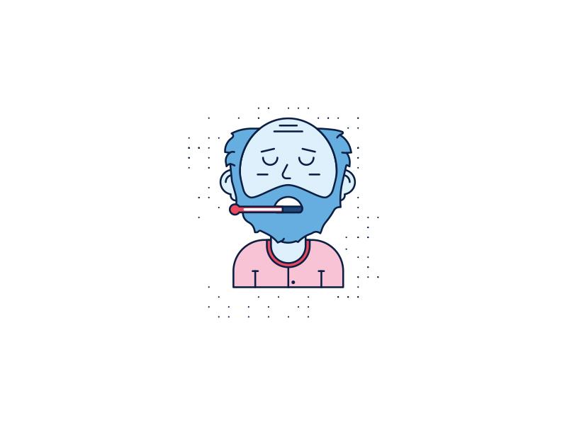 Feeling Blue beard sad pajamas red pattern brooklyn ny illustration cold thermometer feeling blue sick bald