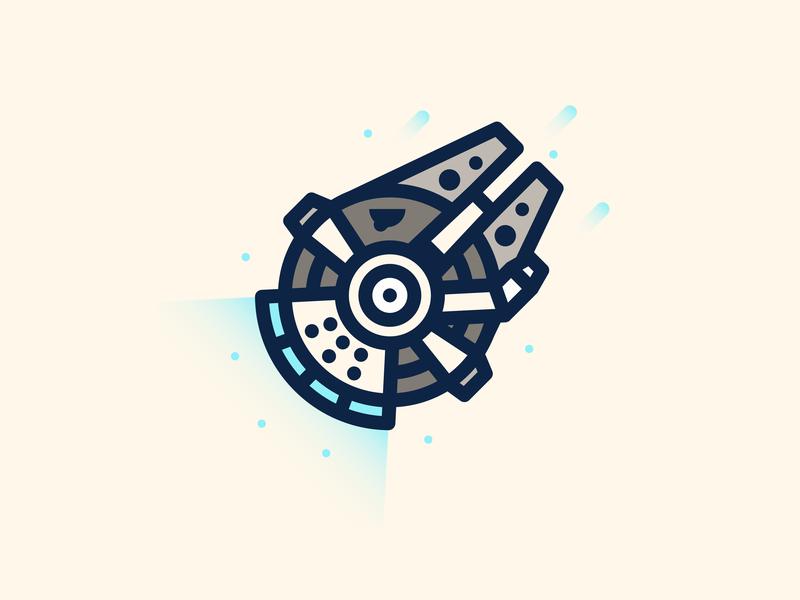 Millenium Falcon droids jedi design line blue wookie han solo falcon rocket travel gradient icon sciencefiction science hyper speed brooklyn ny illustration space ship space millenium falcon starwars