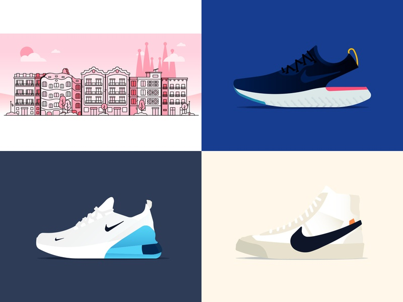 2018 Shots urban art barcelona spain footwear running pink blue flat high tops blazers air epic react gradient line top 4 best of 2018 buildings active shoes nike