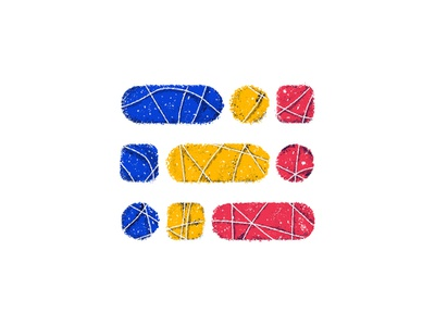 Primary Pattern shapes primary colors sketch book gritty white rounded corners circle square pill new york city brooklyn nyc play experiment brush texture yellow blue red pattern primary