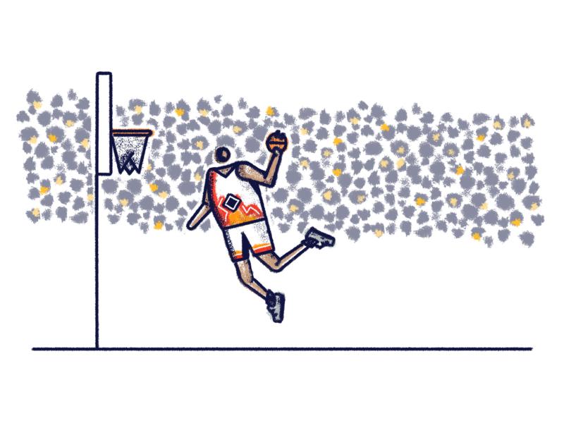 JumpMan orange line jumping basketball court basketball logo light slam stadium crowd texture brush illustration poster dunk athlete sports man jumpman jump basketball