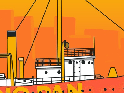 InTurn Summer Party vintage hudson river sea water ship light lightships illustration gradient inturn drinks nautical brooklyn ny nyc hand drawn coast guard boat frying pan summer party